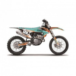 Ktm Te 125 &+ 2014-2016 Kit Déco Blackbird Marchetti Racing 2017 + Housse De Selle