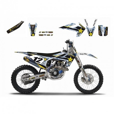 Husqvarna Tc 250 2016-2017 Kit Déco Blackbird Rockstar Energy + Housse De Selle